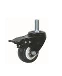 BLACK PVC CASTER (THREADED STEM, WITH BRAKE)